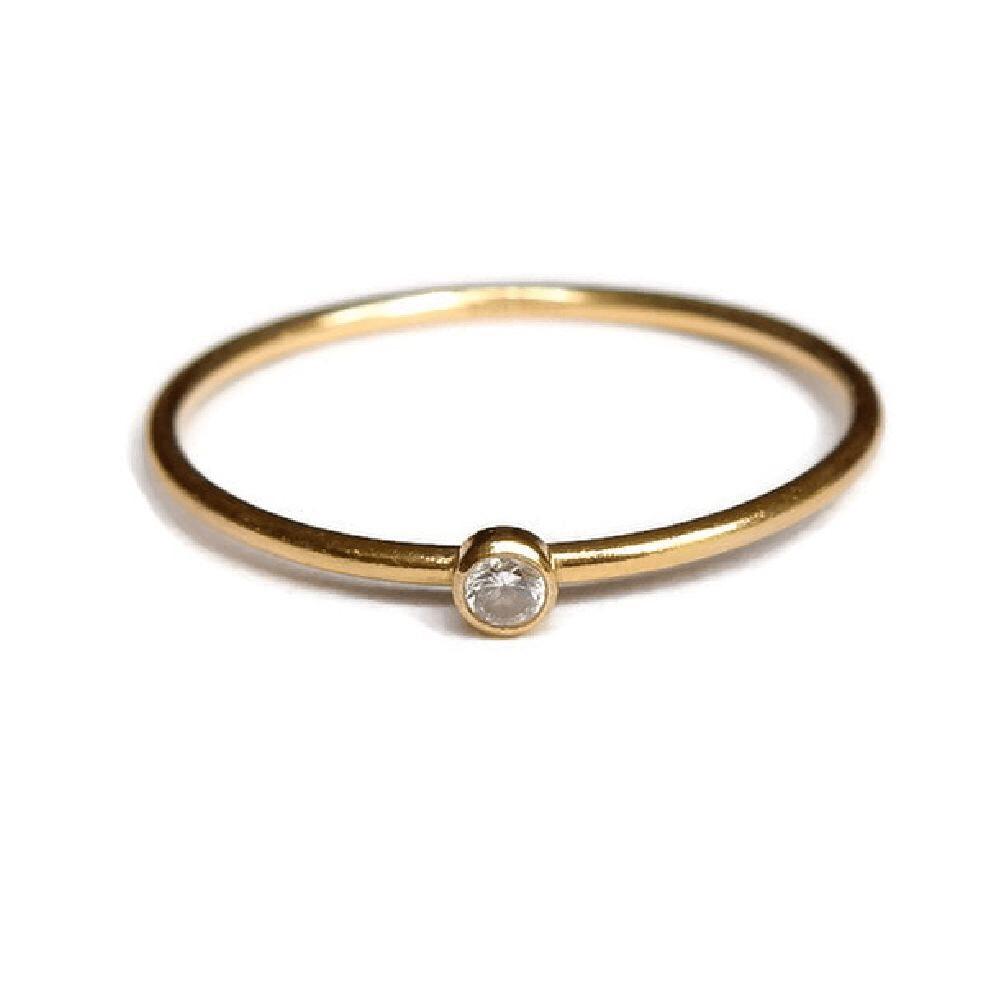 Gnoes | Ring witte zirkonia gold filled