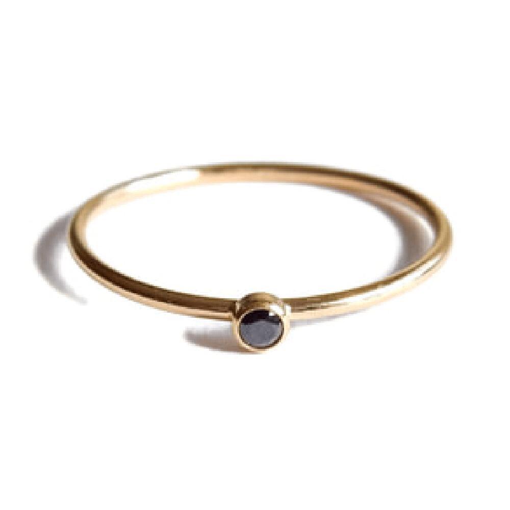 Gnoes | Ring zwarte zirkonia gold filled