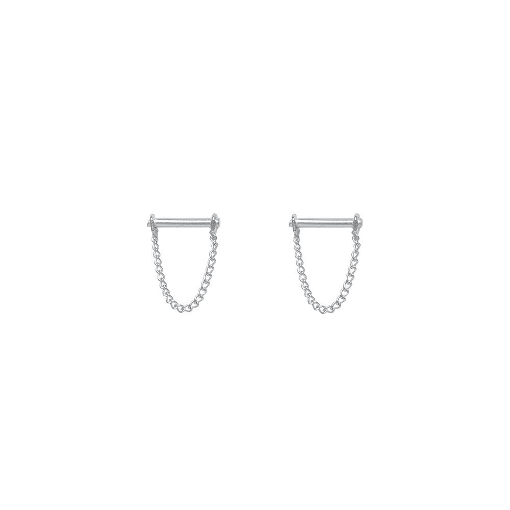 Chain earring-silver  | FLAWED