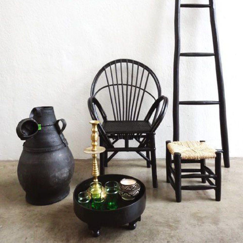 Household Hardware Essaouira stoel zwart recht